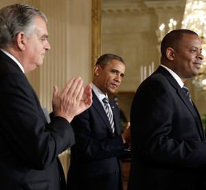 Charlotte Mayor Anthony Foxx, right, speaks after being introduced by Democratic President Barack Obama, center, as the nominee for Secretary of Transportation at the White House as outgoing Secretary of Transportation Ray LaHood looks on April 29, 2013, in Washington, DC. (Win McNamee/Getty Images/Thinkstock file)