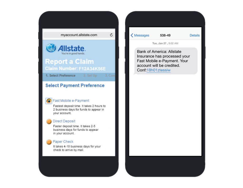 Allstate's Fast Mobile e-Payment system is displayed in this demonstration image. (Provided by Allstate Corporation via PRNewsFoto)