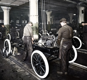 A Ford Highland Park assembly line in 1913. (Provided by Ford)