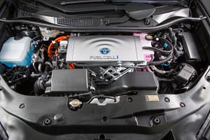 An image of the hydrogen fuel-cell 2016 Toyota Mirai. (Provided by Toyota)