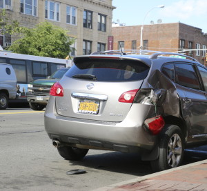 A damaged car can be seen in New York on May 31, 2014. (NIntellectual/iStock Editorial/Thinkstock file)