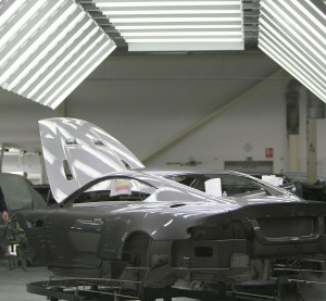 An Aston Martin sits in a light tunnel in the paint shop at an assembly plant on Jan. 23, 2008, in Gaydon, England. (Christopher Furlong/Getty Images/Thinkstock file)