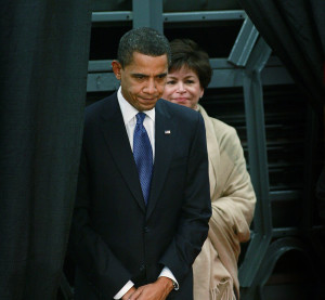 EAST PEORIA, IL - Democratic President Barack Obama, with senior adviser Valerie Jarrett, waits to be introduced to workers at a Caterpillar plant February 12, 2009, in East Peoria, Ill. (Scott Olson/Getty Images/Thinkstock file)