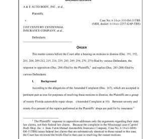 The first page of U.S. District Court Judge Gregory Presnell's ruling in a case brought by auto shops against insurers.