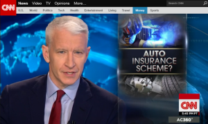 "This screen shot shows an image from a Wednesday ""Anderson Cooper 360"" show looking at auto insurance company tactics. (From CNN.com)"