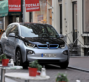A carbon-fiber BMW i3 is shown in October 2013. (Provided by BMW)