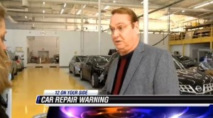 As large parts of the country dig out from snow, Richmond, Va., body shop owner Bruce Hutchins was featured on NBC12 warning viewers about aftermarket parts. (Screenshot from NBC12 footage.)