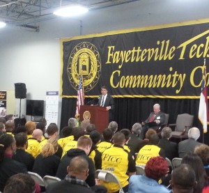 Republican North Carolina Gov. Pat McCrory speaks at an event celebrating the  Fayetteville Technical Community College collision repair program on Feb. 4, 2015. (Provided by Fayetteville Technical Community College)
