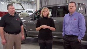 Auto Body Repair Network managing editor Krista McNamara, center; Carstar assistant vice president Rick Miller, left; and  3M senior technical service director Shawn Collins are seen giving a webinar Tuesday on aluminum repair in this screenshot from the video. (Screenshot from Auto Body Repair Network video.)