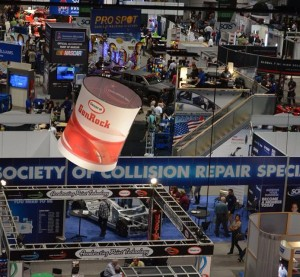 2014 SEMA Show exhibitors, including the Society of Collision Repair Specialists, are seen. (Courtesy of Joel Gausten, Thomas Greco Publishing Inc.)