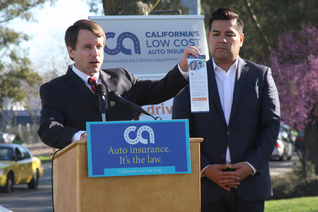 California Insurance Commissioner Dave Jones, left, and Democratic state Sen. Ricardo Lara discussed liability coverage and low-cost insurance in California at a February event. (Provided by California Department of Insurance, file)