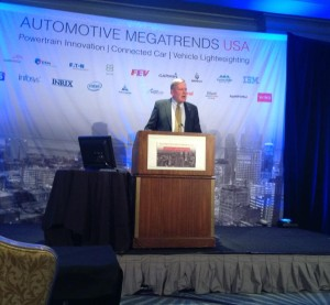 Blake Zuidema, director of automotive product applications for ArcelorMittal, speaks at the 2015 Automotive Megatrends USA on March 17. (John Huetter/Repairer Driven News)