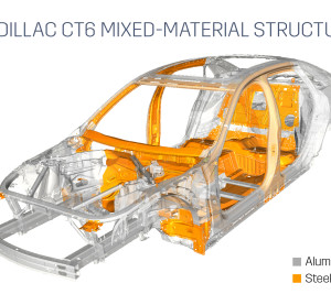 """Cadillac touted the mixed-materials nature of the new Cadillac CT6, which it says is mostly aluminum but also has """"13 different materials customized for each area of the car to simultaneously advance driving dynamics, fuel economy and cabin quietness."""" (Provided by Cadillac)"""