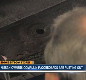 Another interesting corrosion issue raised recently came from KSHB's investigation into Nissan Altimas. Consumers had complained to both the National Highway Traffic Safety Administration and the station itself that their floorboards were corroding. (Screenshot of KSHB video)