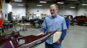 Carl Thurman of Elettsville, Ind.-based Thurman's Body Shop can be seen in this screenshot of WXIN video. (Screenshot from www.Fox59.com)