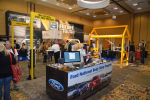 The Ford National Body Shop Program exhibit is seen at the 2014 SEMA Show. (Provided by Specialty Equipment Market Association)