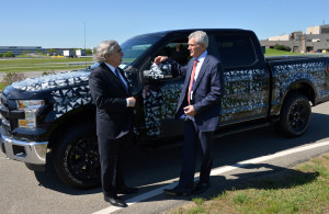 Energy Secretary Ernest Moniz is shown the aluminum 2015 Ford F-150 in this May 22, 2014 photo. Moniz's agency announced a massive loan to Alcoa at the plant Bloomberg said supplied aluminum for the 2015 model year. (Sam VarnHagen/Ford file)