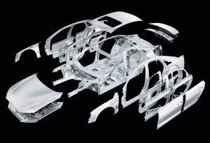 The aluminum frame of an Audi A8 is shown. (Provided by International Aluminum Institute)
