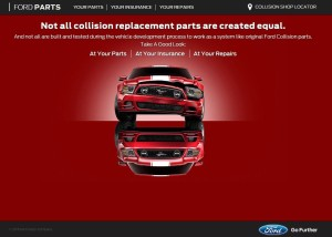 """Ford, meanwhile, is ramping up its promotion of original equipment manufacturers parts and Ford-recommended collision repair shops with the """"Take a Good Look"""" campaign and website. (Screenshot from www.takeagoodlook.com)"""