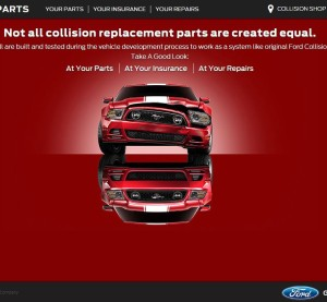 "Ford, meanwhile, is ramping up its promotion of original equipment manufacturers parts and Ford-recommended collision repair shops with the ""Take a Good Look"" campaign and website. (Screenshot from www.takeagoodlook.com)"