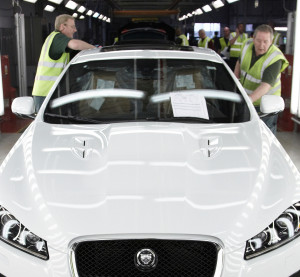 Jaguar staffers work on the Jaguar XF at the Castle Bromwich  manufacturing facility in this picture provided in 2012. (Provided by Jaguar Land Rover)