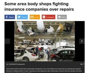 Featured image: A lengthy Dallas Morning News article March 14 offers readers collision repairers' scathing criticisms of aftermarket parts and low labor rates mandated by insurers. (Screenshot from www.dallasnews.com)