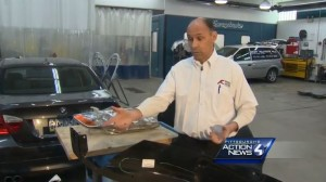 WTAE featured Tim Kilkeary of Eighty Four, Pa.-based Kilkeary's Auto Body in a report this week that raised a potential issue with parts required by insurers. (Screenshot of WTAE video)