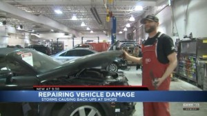 This screenshot shows an image from a KDVR report in Denver about the backlog at a collision repair shop because of winter weather. As we also saw back in January, the media has rediscovered that a lot of snow and ice on the roads causes cars to crash and therefore need collision repair. (Screenshot from KDVR.com video)