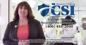 """Democratic Montana Insurance Commissioner Monica Lindeen tells auto body customers not to be """"steered"""" in a new public service announcement, a still from which is seen here. (Screenshot of KXLH Production video for Montana Collision Association and Montana Broadcasters Association)."""