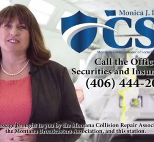 "Democratic Montana Insurance Commissioner Monica Lindeen tells auto body customers not to be ""steered"" in a new public service announcement, a still from which is seen here. (Screenshot of KXLH Production video for Montana Collision Association and Montana Broadcasters Association)."