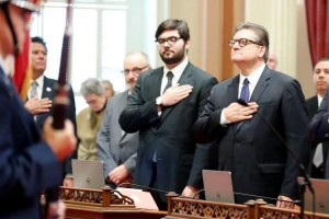 State Sen. Bob Hertzberg, D-Calif., right, is sworn in Dec. 1, 2014, with his son, Daniel, by his side. (Lorie Shelley/Provided by state Sen. Bob Hertzberg, file)