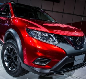 The Nissan X-Trail is shown at the 2014 Toyko Auto Salon. The new X-Trail on sale in May will make automatic braking standard. (Provided by Nissan)