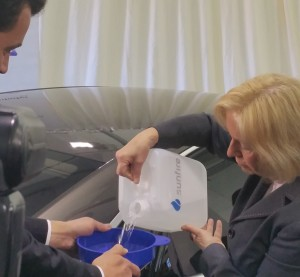 Audi partner sunfire has created synthetic diesel fuel out of carbon dioxide and water, Audi announced April 21, and German Minister of Education and Research Johanna Wanka put five liters into a clean-diesel Audi A8. (Provided by sunfire)