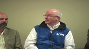 This screenshot from NASTF video shows John Bosin of I-CAR speaking during a National Automotive Service Task Force panel on verification March 19. At right is Aaron Clark of Assured Performance Networks. (Screenshot from NASTF video.)
