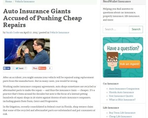 The consumer financial advice and comparison shopping site NerdWallet on Friday published a lengthy feature on collision repairers' complaints against auto insurers, another piece of coverage which brings the related issues to a larger audience. (Screenshot from www.nerdwallet.com)