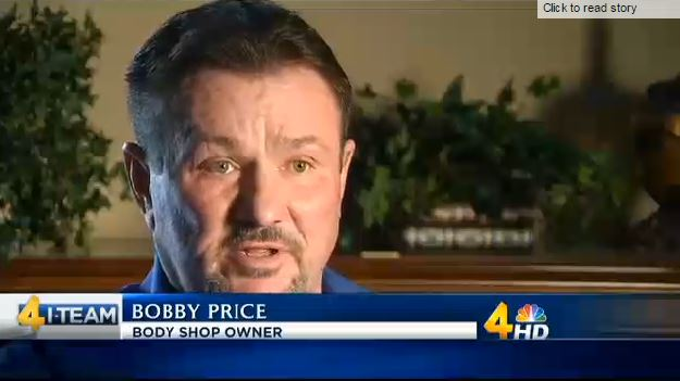 A WSMV segment spotlights Price's Collision Center owner Bobby Price, who has sued GEICO and Progressive claiming breach of contract and tortious interference and who is seen in this screenshot from WSMV video online. (Screenshot from www.WSMV.com)