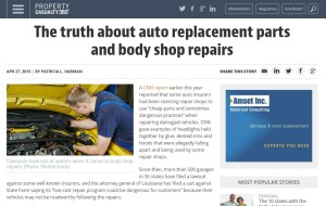"""A recent Property Casualty 360 report challenges the """"Anderson Cooper 360"""" collision repair broadcast and touts the benefit of aftermarket parts, but sources omit a few details, and the piece might ultimately help pro-OEM shops more than hurt them. The article is partly shown in this screenshot from www.PropertyCasualty360.com (Screenshot of www.PropertyCasualty360.com)"""