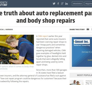 "A recent Property Casualty 360 report challenges the ""Anderson Cooper 360"" collision repair broadcast and touts the benefit of aftermarket parts, but sources omit a few details, and the piece might ultimately help pro-OEM shops more than hurt them. The article is partly shown in this screenshot from www.PropertyCasualty360.com (Screenshot of www.PropertyCasualty360.com)"