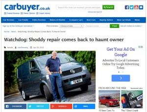A 2007 British collision repair not up to Volkswagen's standards has come back to bite a Leeds driver and his auto body shop, according to Carbuyer. (Screenshot of www.carbuyer.co.uk)