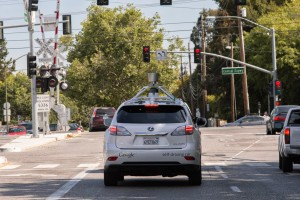 This photo provided by Google shows a self-driving car being tested by the company. (Provided by Google via Google Blog)
