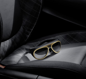 A pair of MINI Augmented Vision glasses sit on what is presumably a MINI seat in this publicity photo. (Provided by BMW)