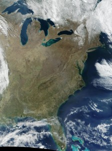 Michigan and New Jersey, the most expensive states for car insurance depending on how you calculate it, are seen in this satellite image. (Stocktrek Images/Stocktrek Images/Thinkstock)