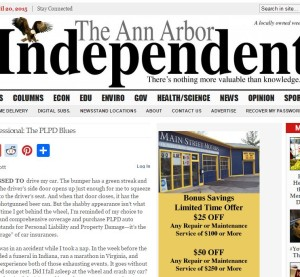 Brett McDermott, who writes for the Ann Arbor, Mich., Independent, laments his lack of collision and comprehensive insurance in a Monday piece that can be seen in this screenshot. (Screenshot from www.a2indy.com)
