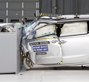 The 76 percent high-strength steel Kia Sedona undergoes a frontal crash test for the Insurance Institute of Highway Safety. (Provided by Insurance Institute of Highway Safety)