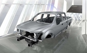 The 2015 aluminum Ford F-150's body and frame are shown. (Provided by Ford)