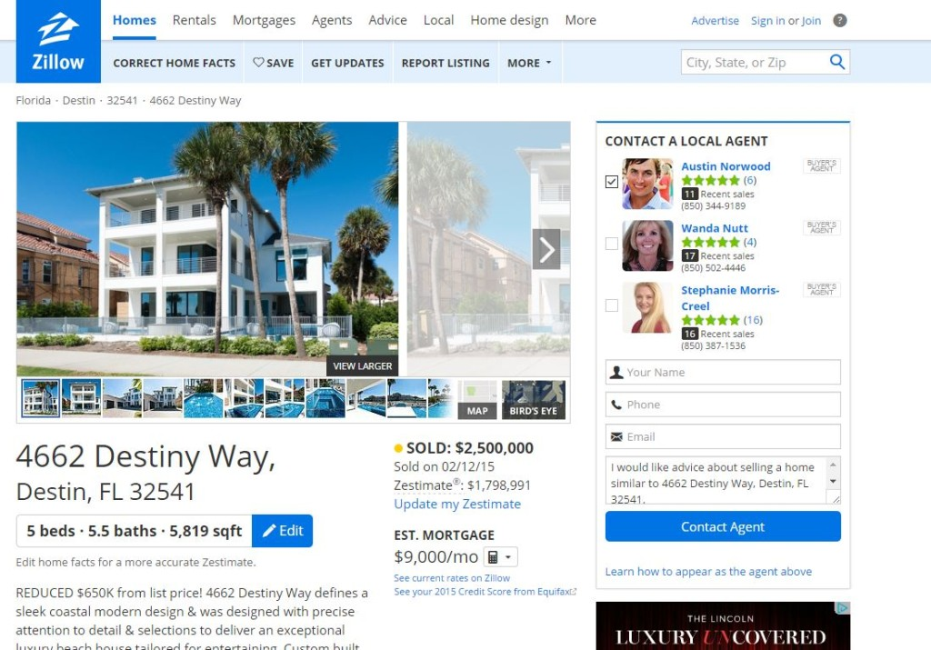 This screenshot from Zillow shows the home in Destin, Fla., surrendered by former Service King CFO Daniel Magnini to the federal government. (Screenshot of www.zillow.com)