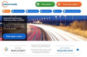 Nationwide Accident Repair Services' website is shown in this screenshot. (Screenshot of www.nationwiderepairs.co.uk)