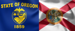 An Oregon lawsuit by a body shop chain has been moved to Florida. [chelovek (Ore.) and Ruskpp (Fla.)/iStock/Thinkstock]