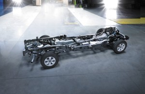 Seventy-seven percent of the 2015 Ford F-150 frame is about 483 MPa high-strength steel. (Provided by Ford)