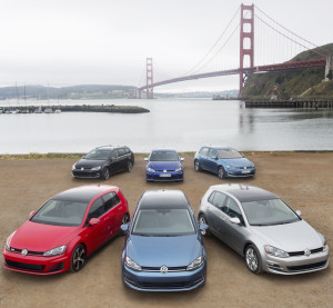 The 2015 Volkswagen Golf line of cars poses in San Francisco. (Provided by Volkswagen)